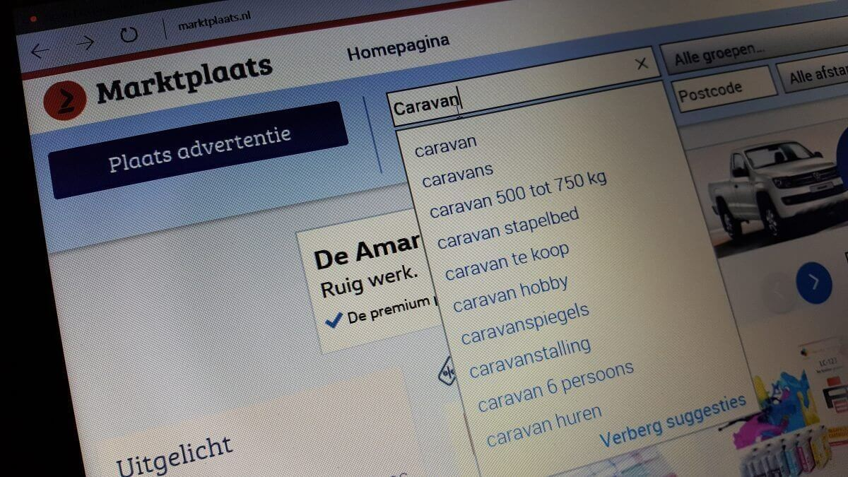 Marktplaats.nl zoeken tweedehands caravan